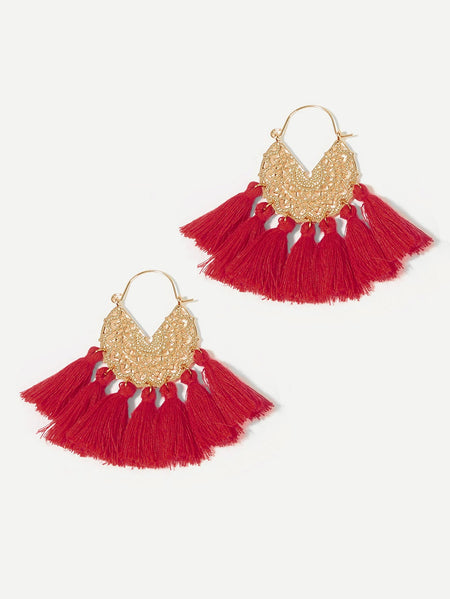 Engraved Detail Fan Tassel Drop Earrings 1pair