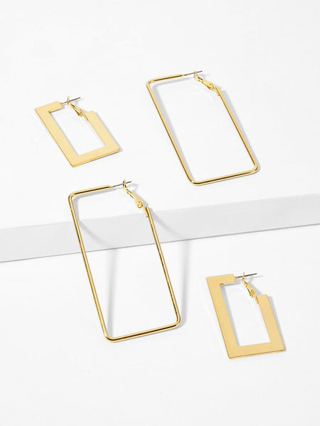 Open Rectangle Drop Earrings 2pairs