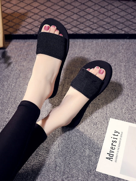 Ribbed Detail Open Toe Slippers