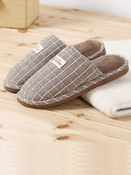Plaid Fluffy Slippers