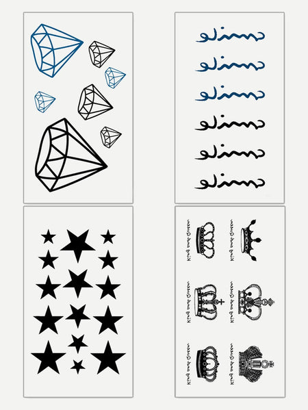 Crown & Letter Pattern Tattoo Sticker Four Sheets