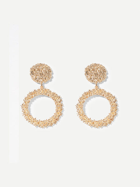 Textured Round & Hoop Drop Earrings 1pair