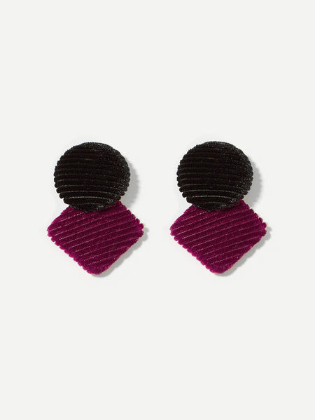 Round & Square Design Drop Earrings 1pair