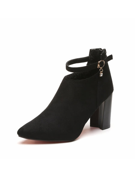 Ankle Strap Suede Chunky Boots