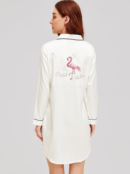 Flamingo & Letter Embroidered Satin Dress