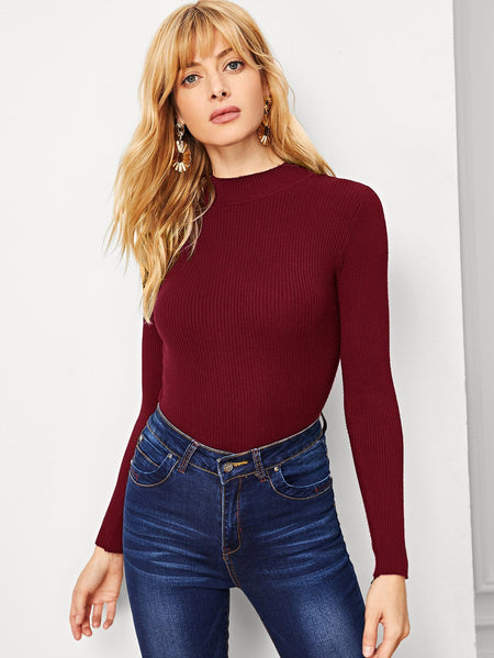 Solid Stand-Neck Ribbed Jumper