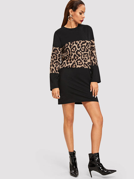 Cut And Sew Leopard Dress