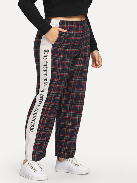 Plus Letter Print Plaid Pants
