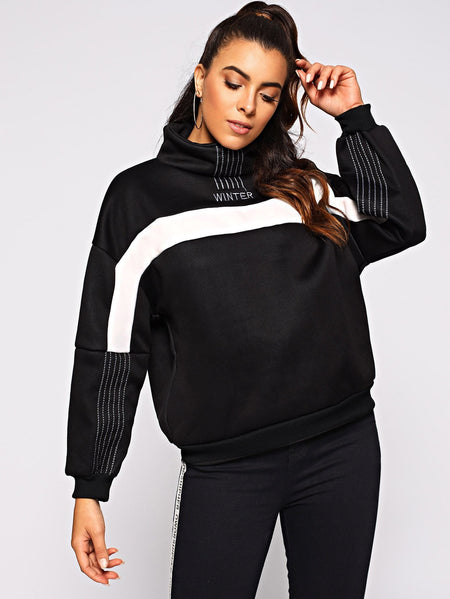 Letter Embroidered Drop Shoulder Sweatshirt