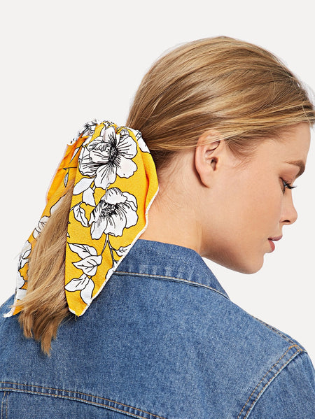 Flower Print Hair Tie