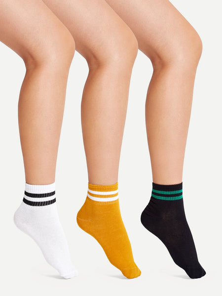 Striped Detail Socks 3pairs