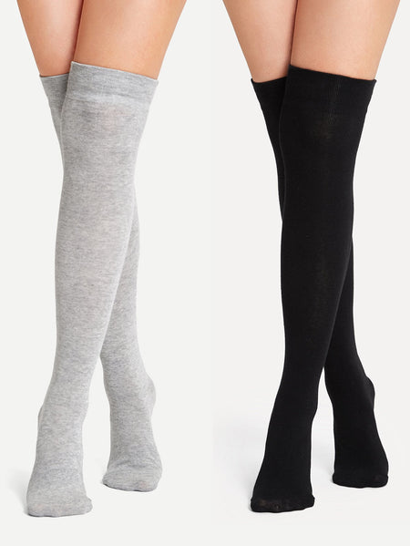 Plain Over the Knee Socks 2pairs