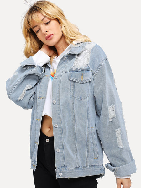Single-breasted Ripped Denim Jacket