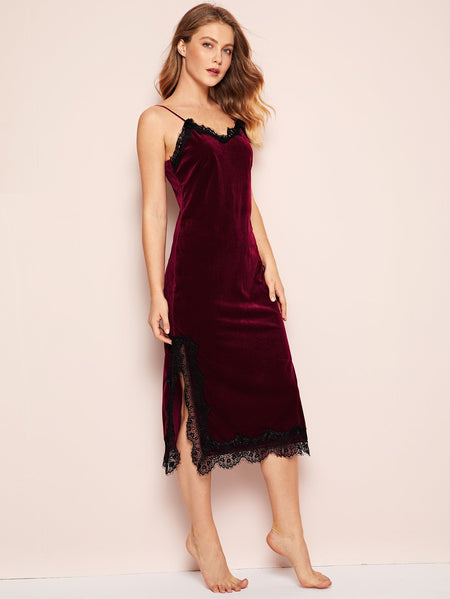 Eyelash Lace Velvet Cami Dress