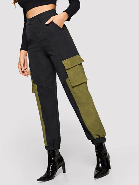 Contrast Panel Pocket Utility Pants