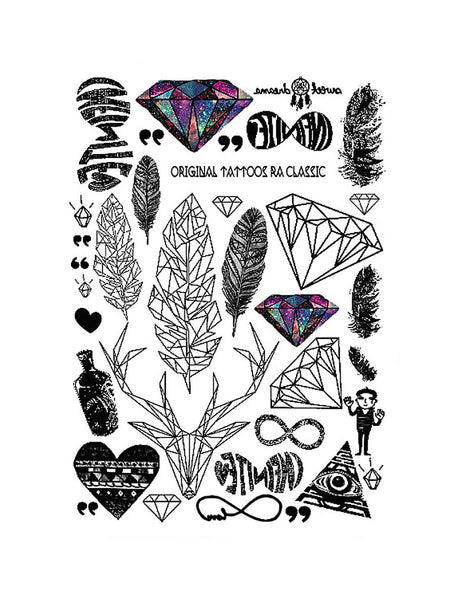 Feather & Gem Shaped Tattoo Sticker 1pack