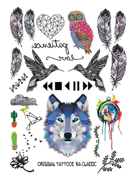 Wolf Dog & Feather Shaped Tattoo Sticker 1pack