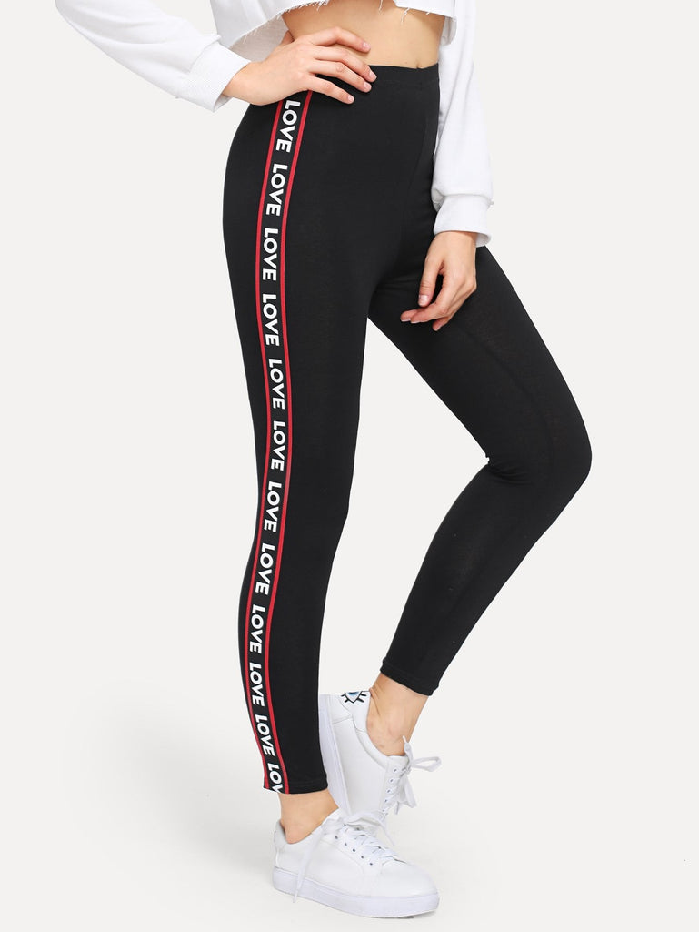 Contrast Letter Print Taped Side Leggings
