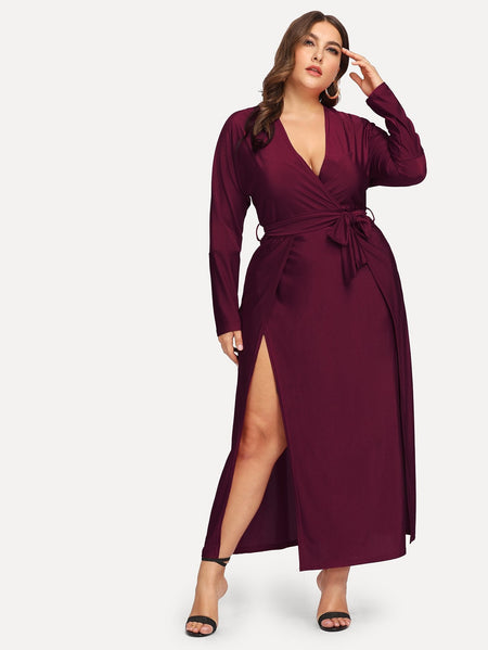 Plus Split Solid Dress