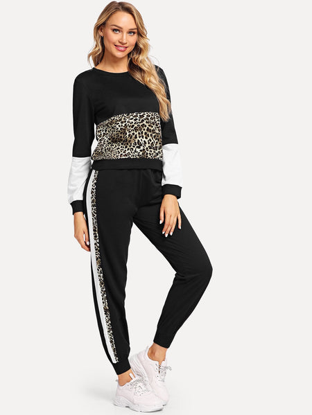 Leopard Panel Top With Pants