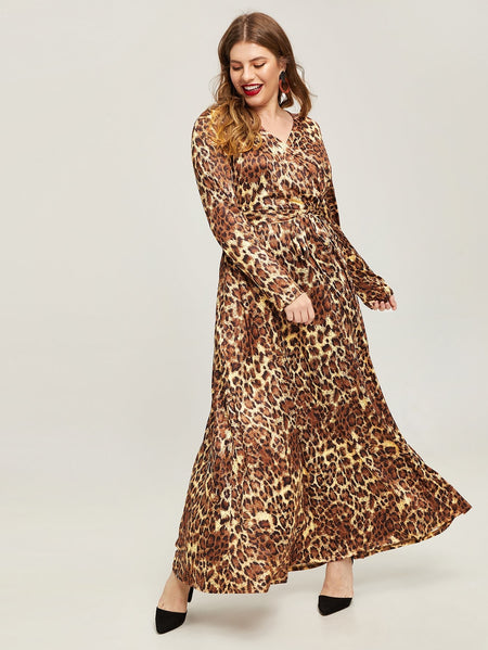 Plus Self Tie Leopard Print Wrap Dress
