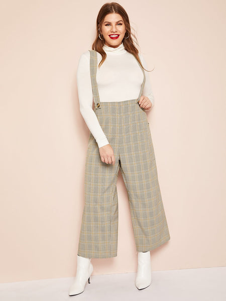 Plus Plaid Wide Leg Pants