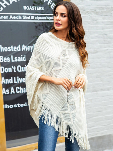Solid Fringe Detail Poncho Sweater