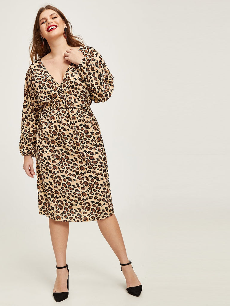 Plus Leopard Print Drawstring Dress