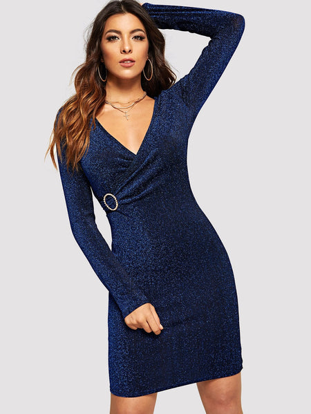 Keyhole Back Surplice Front Dress