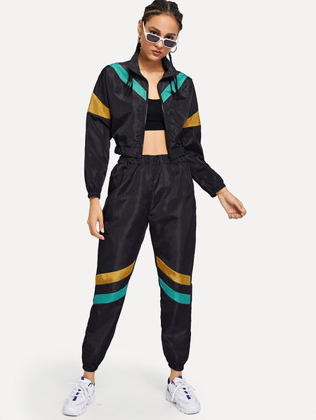 Color-block Zip Up Jacket With Pants