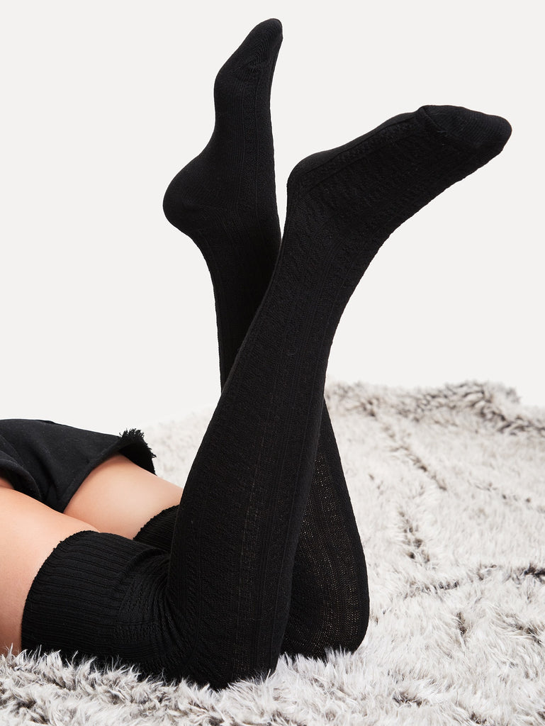 Plain Over The Knee Socks