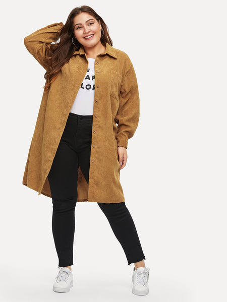 Plus Solid Longline Corduroy Shirt Coat