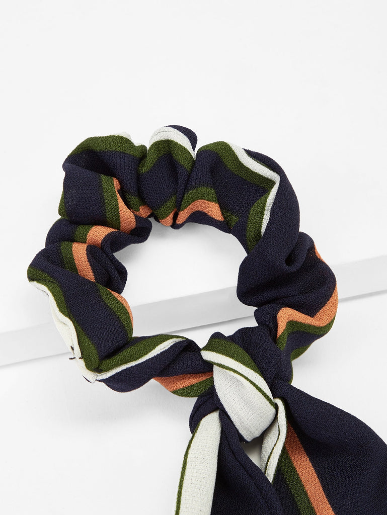 Scarf Knot Striped Hair Tie