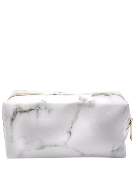 Random Zipper Marble Pattern Makeup Bag