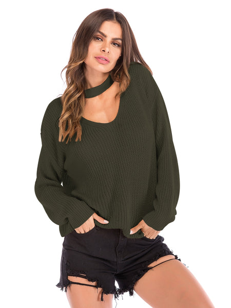 Choker Neck Solid Jumper
