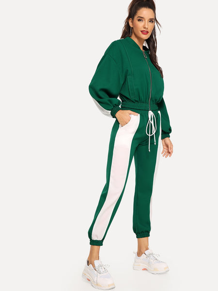 Drop Shoulder Jacket & Drawstring Waist Pants