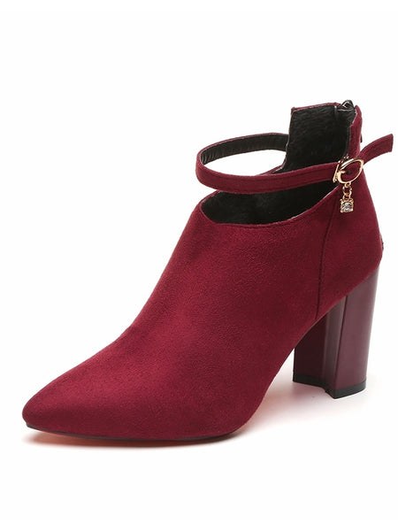 Point Toe Ankle Strap Chunky Boots