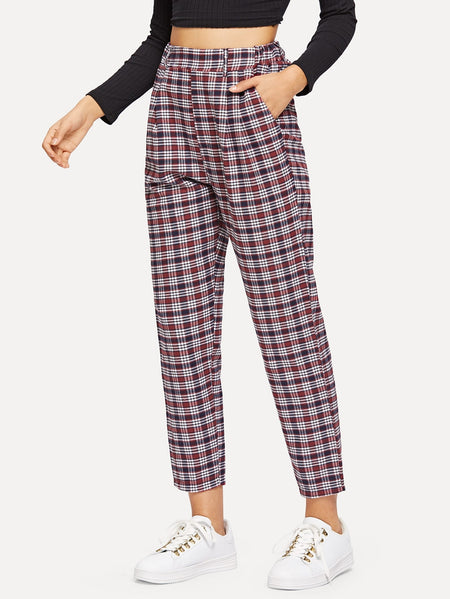 Plaid Pocket Detail Pants