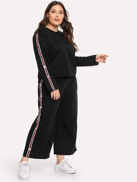 Plus Tape Detail Sweatshirt With Wide Leg Pants