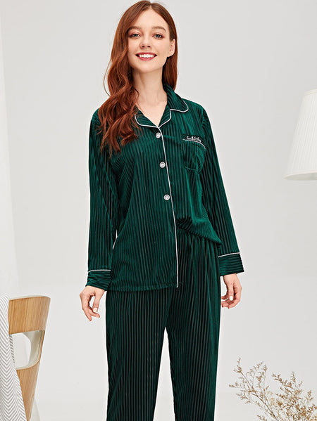 Ribbed Velvet Shirt & Pants PJ Set