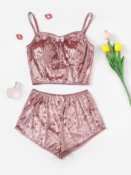 Bow Detail Velvet Cami Pajama Set
