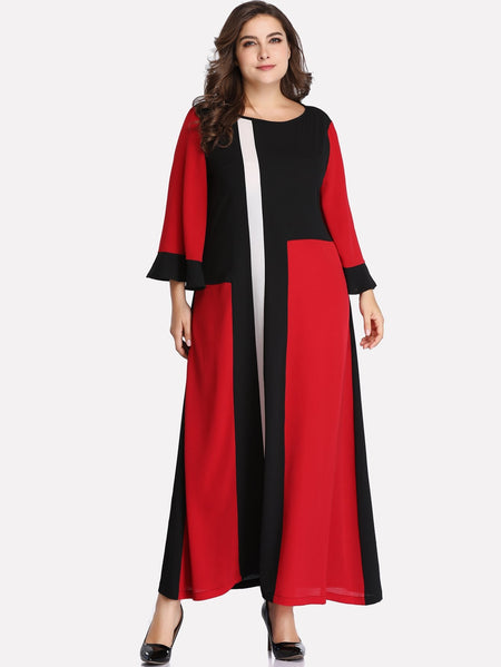 Plus Color-block Flounce Sleeve Dress