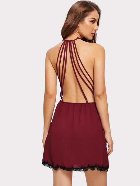 Lace Trim Strappy Back Cami Dress