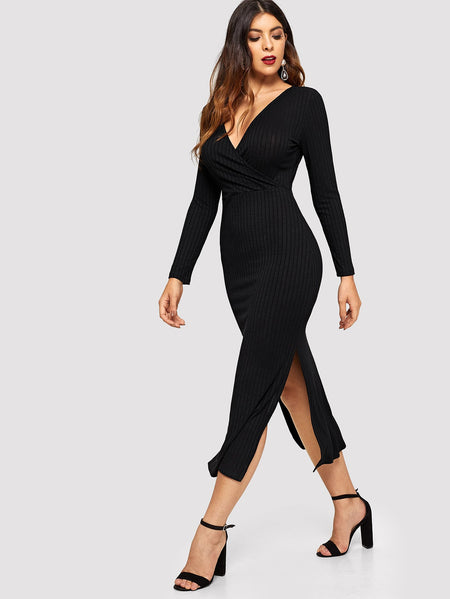 Surplice Wrap Slit Side Rib Knit Dress