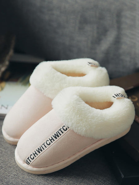 Letter Pattern Contrast Faux Fur Slippers
