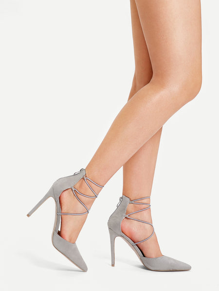 Criss Cross Pointed Toe Stiletto Heels
