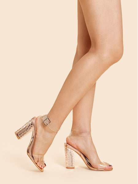Clear Design Ankle Strap Heels