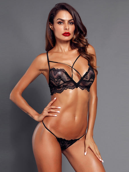 Criss Cross Lace Lingerie Set