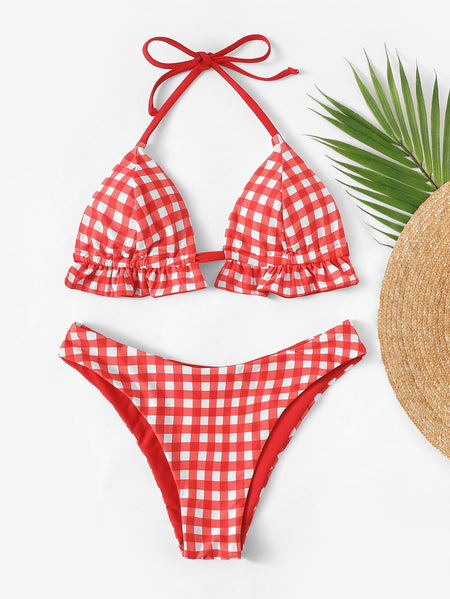 Gingham Frill Trim Top With High Cut Bikini