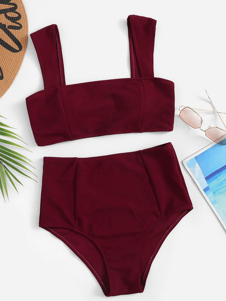 Wide Straps Top With High Waist Bikini Set